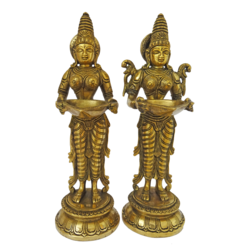 Set of Lady Holding Diya Brass Statue With Antique Finish size - 2x11.5In - 2x11.5
