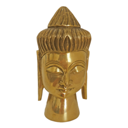 Handcrafted Meditating Brass Buddha Face Statue size - 2x8In - 2x8