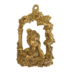 Decorative Brass Wall Hanging With Baby Krishna Playing Flute size - 4.5x7In - 4.5x7