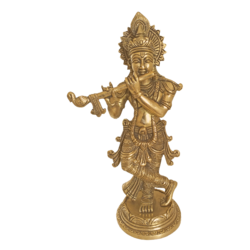 Brass Idol Of Krishan Playing Flute With Antique Finish size - 2x9.5In - 2x9.5