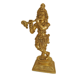 Brass Idol Of Krishan Playing Flute size - 2.5x9In - 2.5x9
