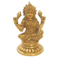 Brass Goddess Devi With Lotus Bud Statue size - 2x4In - 2x4