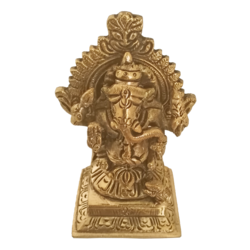 Antique Brass Lord Ganesha With Small Mouse Statue size - 1.5x3.5In - 1.5x3.5
