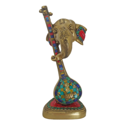 Modern Brass Ganesha Face With Veena Multicolour Stonework Statue size - 3x11.5In - 3x11.5
