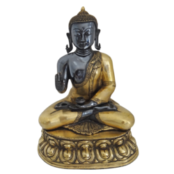 Brass Black Meditating Buddha With Golden Finish Statue size - 11x18.5In - 11x18.5