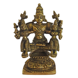 Sitting Lord Venkateswara  With Sridevi Bhudevi Brass Statue size - 2x5In - 2x5