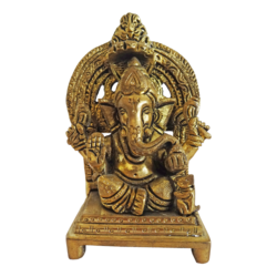 Antique Lord Ganesha With Small Mouse Brass Statue size - 2x4.5In - 2x4.5