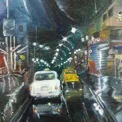 Roads of Kolkata after rain at Night size - 8x10In - 8x10