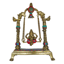 Religious God Ganesha Murti Sitting on Multi Stone Work Julla Brass Statue size - 3x11.5In - 3x11.5