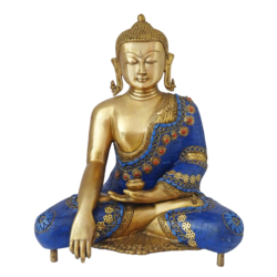 Brass Blue Meditating Buddha With Golden Statue size - 8x16In - 8x16