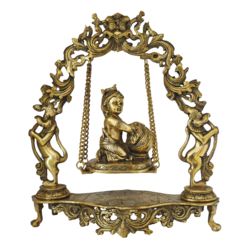 Brass Baby Krishna In Designed Julla With Pot of Butter Statue size - 3x17.5In - 3x17.5