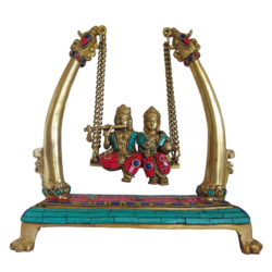 Brass Radha Krishna Playing Flute With Multi Stone work Julla Statue size - 4x11.5In - 4x11.5