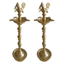 Amazing Pair Of Brass Kuthu Vilakku With Peacock Showpiece size - 5x25In - 5x25