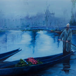 A mirrage of the past, Dal Lake size - 30x20In - 30x20