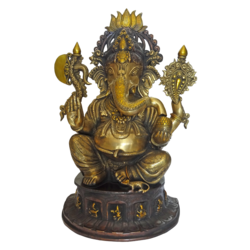 Well Designed Sitting Lord Ganesha Brass Statue size - 8x23In - 8x23