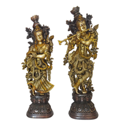Well Designed Brass Pair Radha Krishna Playing Flute Statue size - 5x30In - 5x30