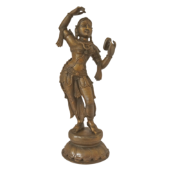 Panchaloha Goddess Devi standing with Mirror Statue size - 4x18In - 4x18