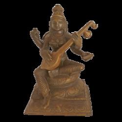 Panchaloha Devi Saraswati Playing Veenai Statue size - 2.5x5In - 2.5x5