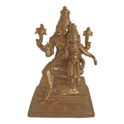 Panchaloha Lord Vishnu Sitting With Goddess Lakshmi Statue  size - 2.5x5In - 2.5x5