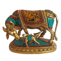 Beautiful Kamdhenu Brass Calf and Multi Colour Stone Work Statue size - 2.5x5.5In - 2.5x5.5