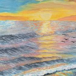 Sunset and the Sea - 16x22