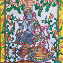 Dancing Glory of Radhey Krishna - 11.5x16.5