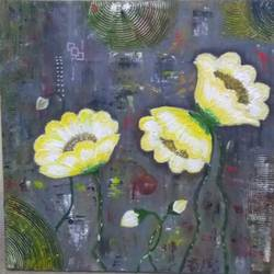 Yellow flower texture painting - 18x18