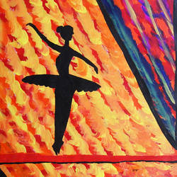 Abstract Painting of a dancing lady - 15x22