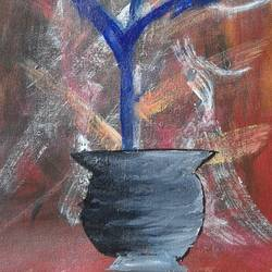 Abstract Painting of Flower pot - 9x19