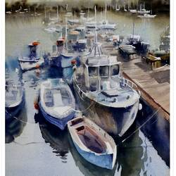 BOATS WITH REFLECTIONS - 15x22