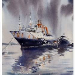 MOOD OF IZMIR,BOATS PAINTING - 15x11