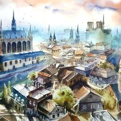 PANORAMIC VIEW OF PARIS,A LOVELY CIYSCAPE PAINTING - 22x15