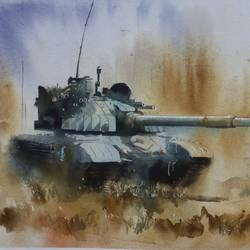 WAR PAINTING,TANK,INDIAN ARMY - 22x15