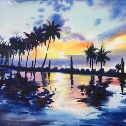 LANDSCAPE,SEASCAPE,SUNSET PAINTING,REFLECTIONS - 16x13