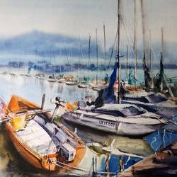 SEASCAPE,BOATS PAINTING - 18x13
