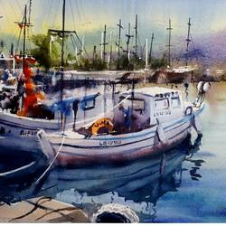 BOATS PAINTING - 22x15