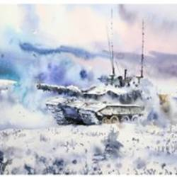 TANK,WAR PAINTING,SEACHEN PAINTING,INDIAN ARMY - 22x11