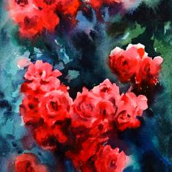 RED ROSES PAINING,LOVE PAINTING,ONE OF THE FAMOUS FLOWERS PAINTING - 15x11