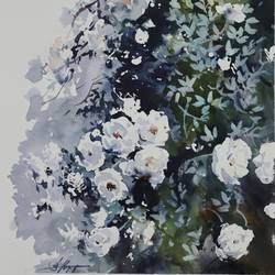 FLOWERS PAINTING,WHITE ROSES - 15x11