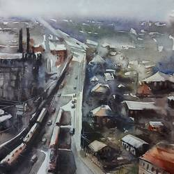 CITYSCAPE, OLD CITY PAINTING, PANORAMIC VIEW - 10x14
