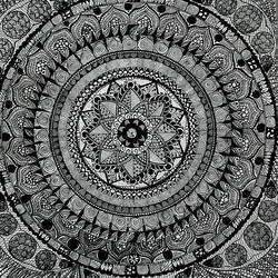 Black and white mandala - 12x17