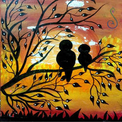 Watching Birds - 12x12