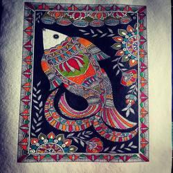 Fish madhubani - 11.69x16.53