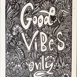 Good Vibes Only doodle - 11.5x16