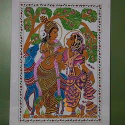 Kalamkari Painting of Rathi and Manmadha - 18x24