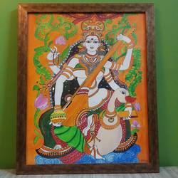 A Saraswati Kerala Mural Painting - 18x21
