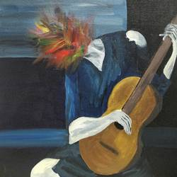 And the old man felt elated with music - 12x18