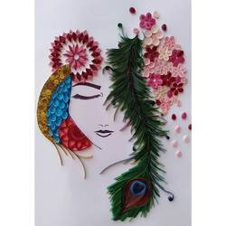 lord krishna quilled painting - 12.5x18