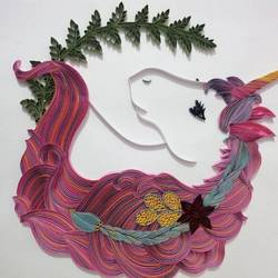 quilled unicorn painting - 18x20.5