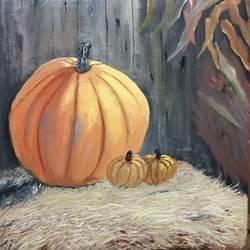 Pumpkin with kin 12 by 12 inch - 12x12